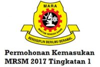 Panduan Permohonan Kemasukan MRSM 2017 Tingkatan 1